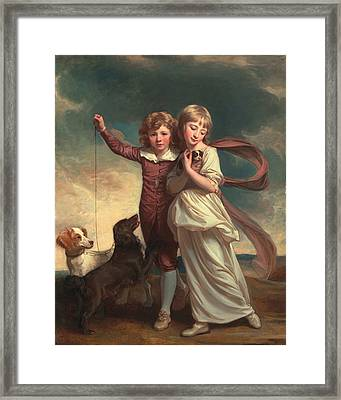Thomas John Clavering And Catherine Mary Clavering Framed Print by George Romney