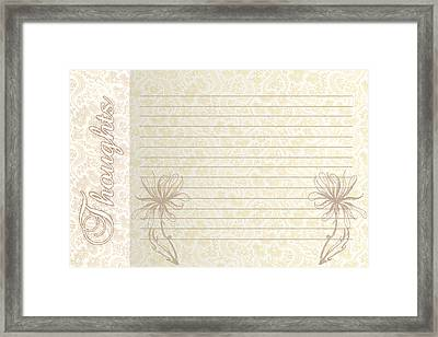 Thoughts Stationary Framed Print by Dana Vogel