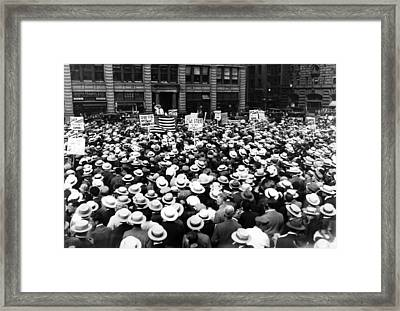 Thousands Of Union Members Attending Framed Print by Everett