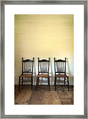Three Antique Chairs Framed Print by Jill Battaglia