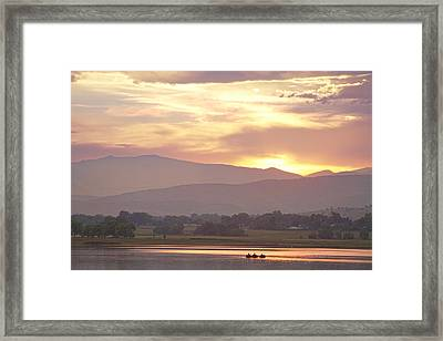 Three Belly Boats Golden Scenic View Framed Print by James BO  Insogna
