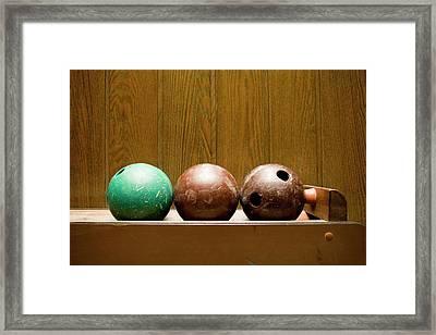 Three Bowling Balls Framed Print by Benne Ochs