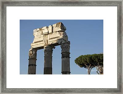Three Columns And Architrave Temple Of Castor And Pollux Forum Romanum Rome Framed Print by Bernard Jaubert
