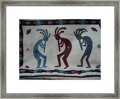 Three Flute Players Kokopelli Style Framed Print by Anne-Elizabeth Whiteway