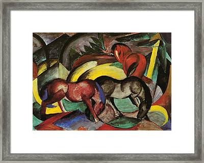 Three Horses Framed Print by Franz Marc