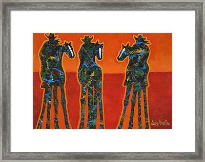 Three In Orange Framed Print by Lance Headlee