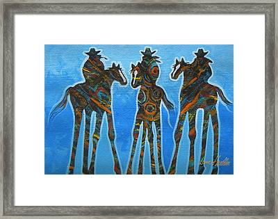 Three In The Blue Framed Print by Lance Headlee