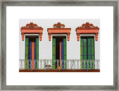 Three Of A Kind - The Windows In Old Sacramento Framed Print by Christine Till