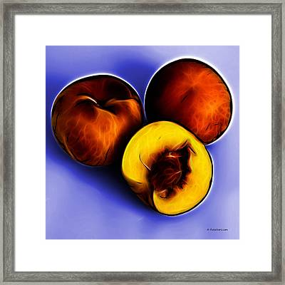 Three Peaches - Blue Framed Print by James Ahn
