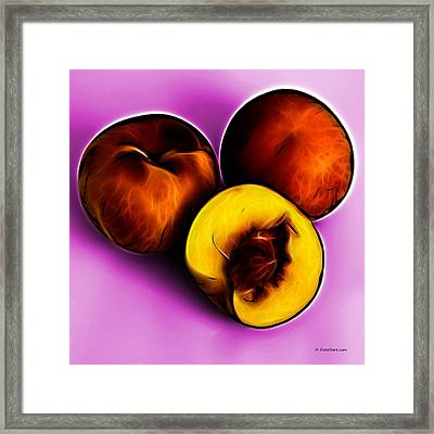 Three Peaches - Magenta Framed Print by James Ahn