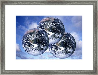 Three Planet Earths, Conceptual Image Framed Print by Victor De Schwanberg