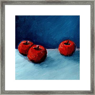 Three Red Apples Framed Print by Michelle Calkins