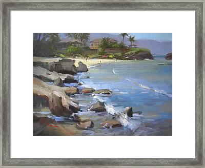 Three Tables Beach Framed Print by Richard Robinson