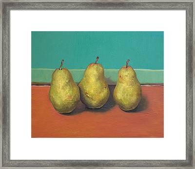 Three Yellow Pears With Green Wall Framed Print by Yuki Komura