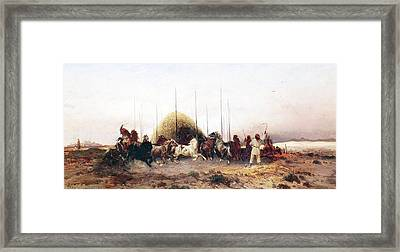 Threshing Wheat In New Mexico Framed Print by Thomas Moran