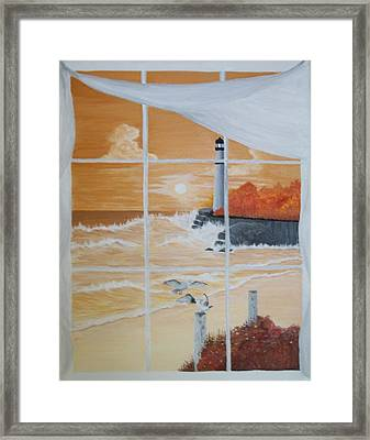 Thru The Window Framed Print by Linda Bennett