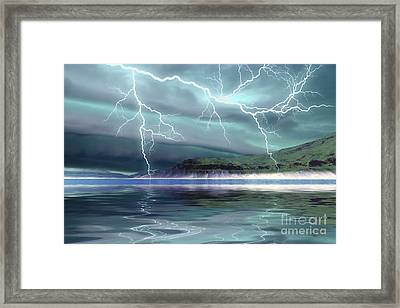 Thunderclouds And Lightning Move Framed Print by Corey Ford