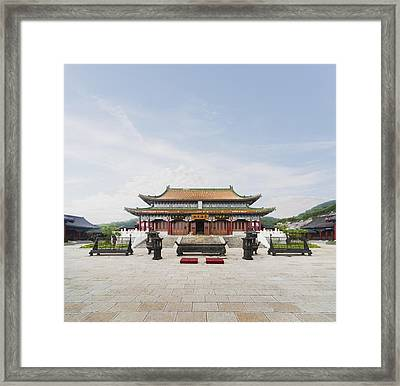 Tianmen Temple In Tianmen Forest National Park Framed Print by Ed Freeman