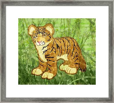 Tiger Cub Framed Print by Mary Ogle