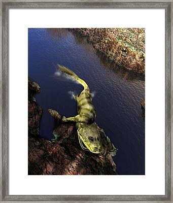 Tiktaalik Prehistoric Fish, Artwork Framed Print by Victor Habbick Visions