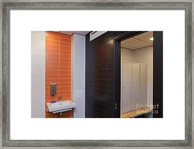 Tiled Workplace Bathroom Framed Print by Jaak Nilson