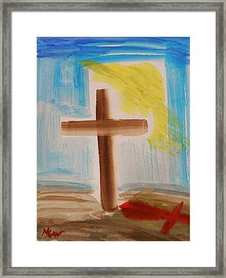 Tim Tebow's Cross-easter Monday Framed Print by Mary Carol Williams