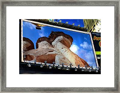 Times Square Billboards Framed Print by Pravine Chester