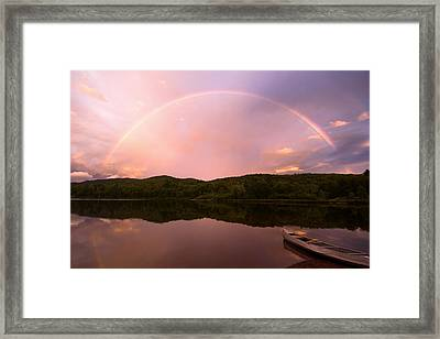 Timing Is Divine Rainbow Over Vermont Mountains Framed Print by Stephanie McDowell