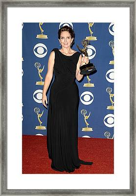 Tina Fey Wearing A Gucci Gown Framed Print by Everett