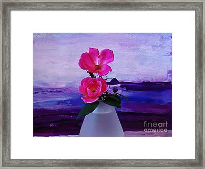Tiny Rose Bouquet Framed Print by Marsha Heiken