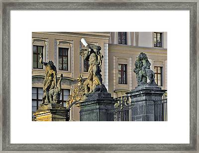 Titans Battling Outside Prague Castle Framed Print by Christine Till