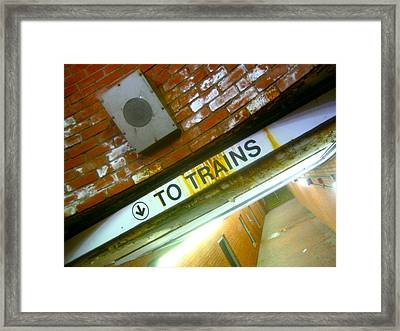 To Trains Framed Print by Jon Berry
