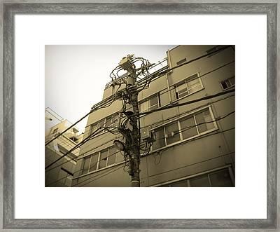 Tokyo Electric Pole Framed Print by Naxart Studio