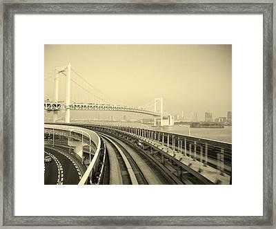 Tokyo Metro Ride Framed Print by Naxart Studio