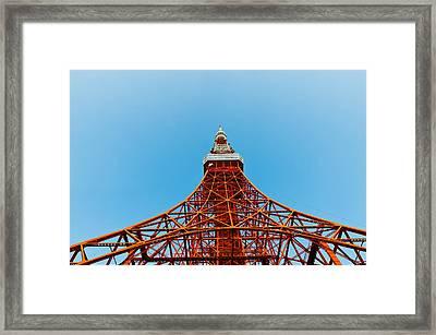Tokyo Tower Faces Blue Sky Framed Print by Ulrich Schade