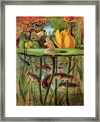 Tommelise Very Desolate On The Water Lily Leaf In 'thumbkinetta'  Framed Print by Hans Christian Andersen and Eleanor Vere Boyle