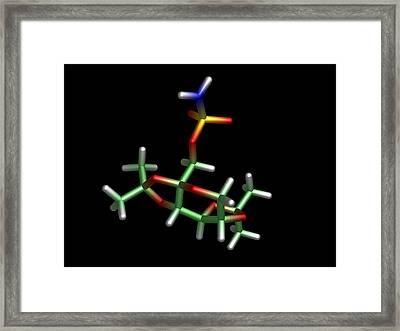 Topiramate Molecule, Anti-epilepsy Drug Framed Print by Dr Tim Evans