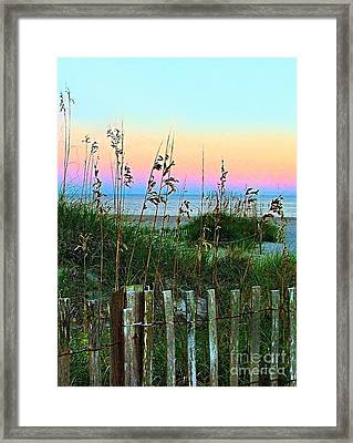 Topsail Island Dunes And Sand Fence Framed Print by Julie Dant