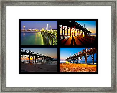 Topsail Piers At Sunrise Framed Print by Betsy C Knapp