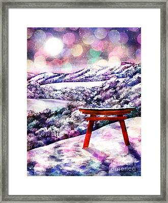 Torii In Rainbow Snowfall Framed Print by Laura Iverson