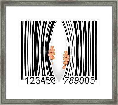 Torn Bar Code Framed Print by Carlos Caetano