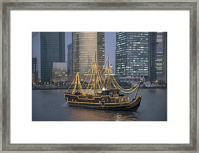 Tour Boat On The Huangpu River Framed Print by Scott S. Warren