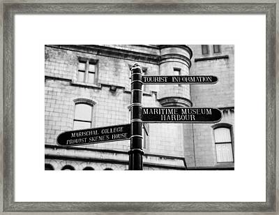 Tourist Information Signs Directions Street Aberdeen Scotland Uk Framed Print by Joe Fox