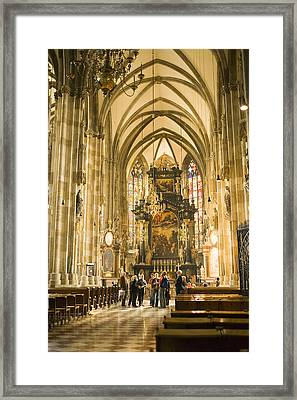 Tourists At Altar Of Stephansdom Framed Print by Greg Elms
