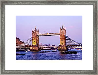 Tower Bridge In London At Dusk Framed Print by Elena Elisseeva