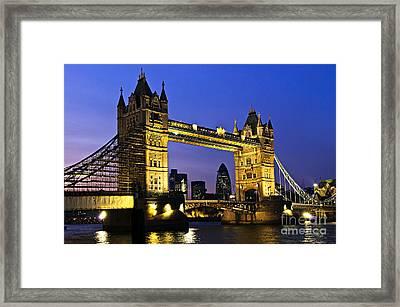 Tower Bridge In London At Night Framed Print by Elena Elisseeva