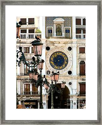 Tower Clock In Saint Mark's Square Framed Print by Susan Holsan