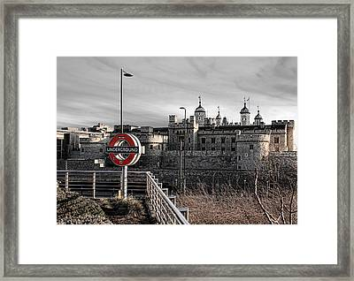 Tower Of London With Tube Sign Framed Print by Jasna Buncic