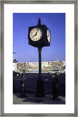 Town Clock Framed Print by Sally Weigand