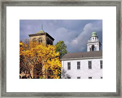 Town Square Framed Print by Janice Drew